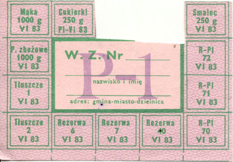 1980s ration card