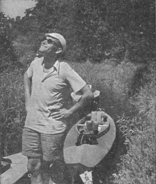 Karol Wojtyla with a canoe