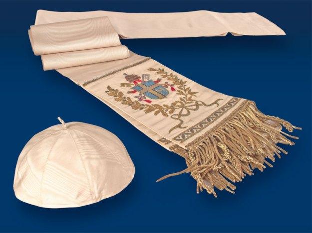 Zuchetto and belt of Pope John Paul II, 1978 – 1983